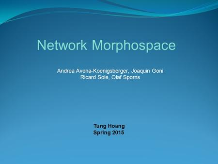 Network Morphospace Andrea Avena-Koenigsberger, Joaquin Goni Ricard Sole, Olaf Sporns Tung Hoang Spring 2015.