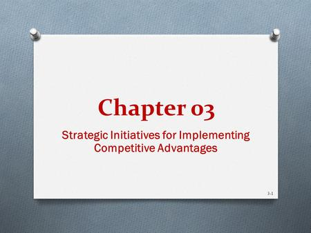 Chapter 03 Strategic Initiatives for Implementing Competitive Advantages 3-1.