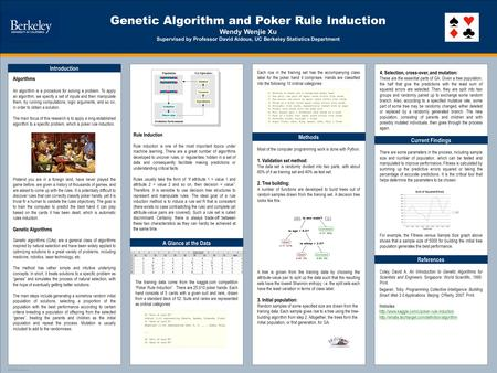 TEMPLATE DESIGN © 2008 www.PosterPresentations.com Genetic Algorithm and Poker Rule Induction Wendy Wenjie Xu Supervised by Professor David Aldous, UC.