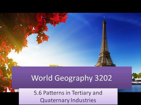 World Geography 3202 5.6 Patterns in Tertiary and Quaternary Industries.