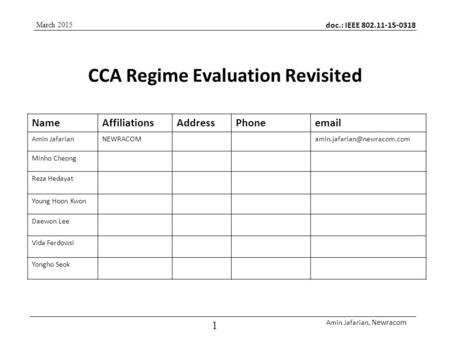 Doc.: IEEE 802.11-15-0318 Amin Jafarian, Newracom 1 CCA Regime Evaluation Revisited March 2015 NameAffiliationsAddressPhone Amin
