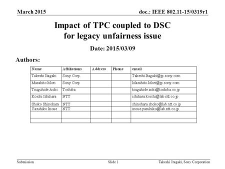Doc.: IEEE 802.11-15/0319r1 Submission March 2015 Takeshi Itagaki, Sony CorporationSlide 1 Impact of TPC coupled to DSC for legacy unfairness issue Date: