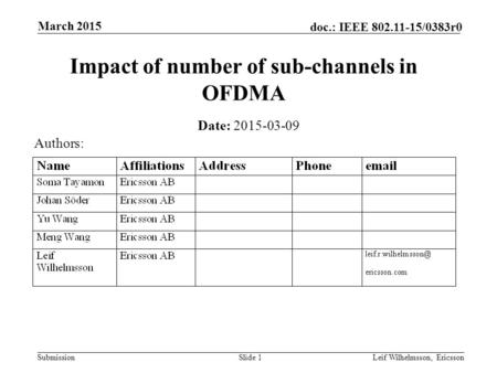 Submission doc.: IEEE 802.11-15/0383r0 Impact of number of sub-channels in OFDMA Date: 2015-03-09 Slide 1Leif Wilhelmsson, Ericsson March 2015 Authors: