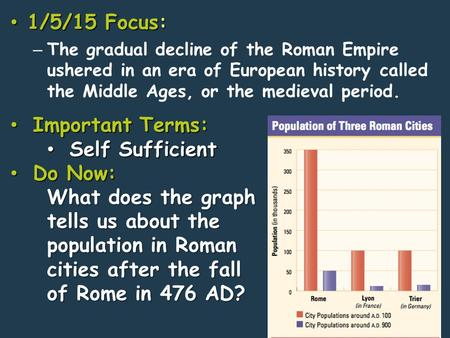 1/5/15 Focus: 1/5/15 Focus: – The gradual decline of the Roman Empire ushered in an era of European history called the Middle Ages, or the medieval period.