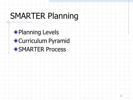 1 SMARTER Planning Planning Levels Curriculum Pyramid SMARTER Process.