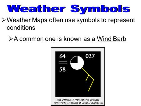 Weather Maps often use symbols to represent conditions  A common one is known as a Wind Barb.