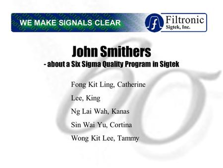 John Smithers at Sigtek Case Solution & Analysis ...