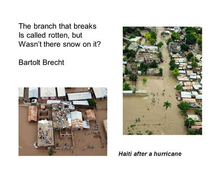 The branch that breaks Is called rotten, but Wasn't there snow on it? Bartolt Brecht Haiti after a hurricane.