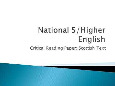 National 5/Higher English
