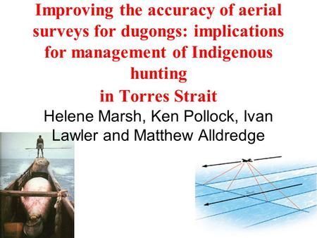 Improving the accuracy of aerial surveys for dugongs: implications for management of Indigenous hunting in Torres Strait Helene Marsh, Ken Pollock, Ivan.