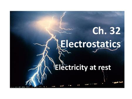 Ch. 32 Electrostatics Electricity at rest. Electric Forces Arise from subatomic particles – Positive nucleus surrounded by negative electrons Charge: