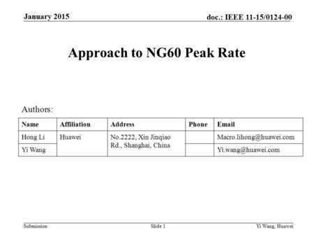 Submission doc.: IEEE 11-15/0124-00 Approach to NG60 Peak Rate Slide 1 January 2015 Yi Wang, Huawei Authors: NameAffiliationAddressPhoneEmail Hong LiHuaweiNo.2222,