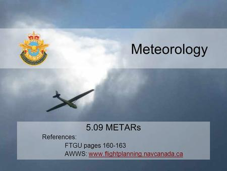 Meteorology 5.09 METARs References: FTGU pages