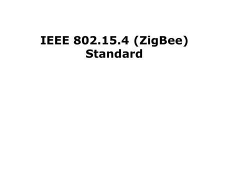 IEEE 802.15.4 (ZigBee) Standard. Home Networking Automotive Networks Industrial Networks Interactive Toys Remote Metering 802.15.4 Application Space.