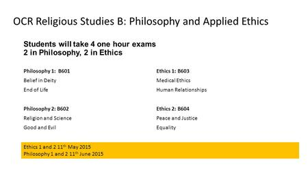 Students will take 4 one hour exams 2 in Philosophy, 2 in Ethics Philosophy 1: B601 Belief in Deity End of Life Philosophy 2: B602 Religion and Science.