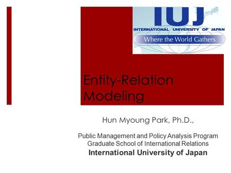 Entity-Relation Modeling Hun Myoung Park, Ph.D., Public Management and Policy Analysis Program Graduate School of International Relations International.