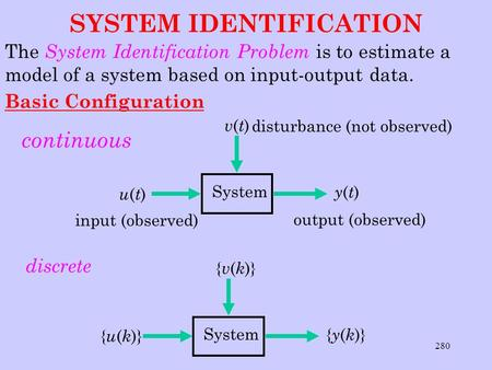 280 SYSTEM IDENTIFICATION The System Identification Problem is to estimate a model of a system based on input-output data. Basic Configuration continuous.