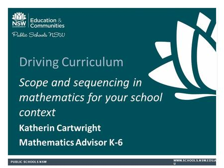Driving Curriculum Scope and sequencing in mathematics for your school context Katherin Cartwright Mathematics Advisor K-6.