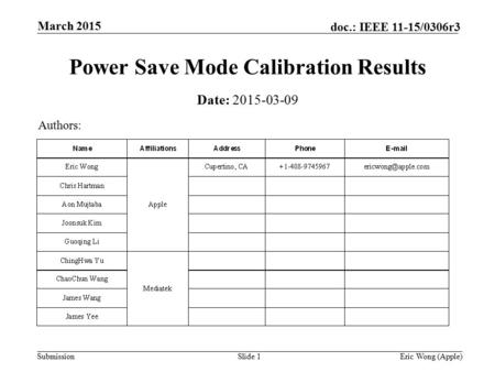 Submission doc.: IEEE 11-15/0306r3 March 2015 Eric Wong (Apple)Slide 1 Power Save Mode Calibration Results Date: 2015-03-09 Authors: