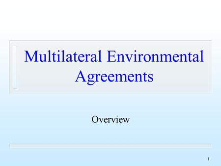 1 Multilateral Environmental Agreements Overview.