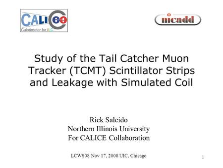 1 Study of the Tail Catcher Muon Tracker (TCMT) Scintillator Strips and Leakage with Simulated Coil Rick Salcido Northern Illinois University For CALICE.