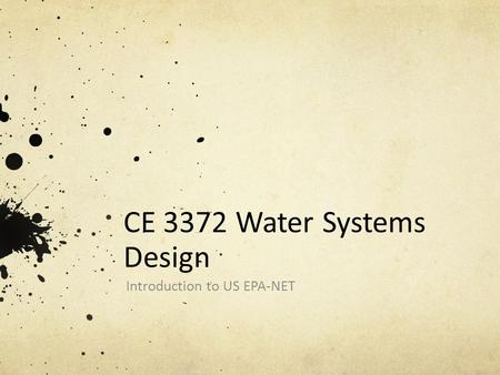 CE 3372 Water Systems Design