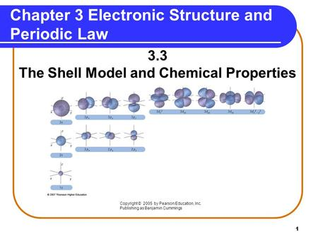 1 Chapter 3 Electronic Structure and Periodic Law 3.3 The Shell Model and Chemical Properties Copyright © 2005 by Pearson Education, Inc. Publishing as.