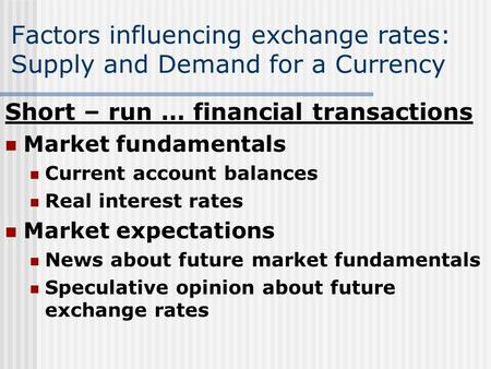 Factors influencing exchange rates: Supply and Demand for a Currency