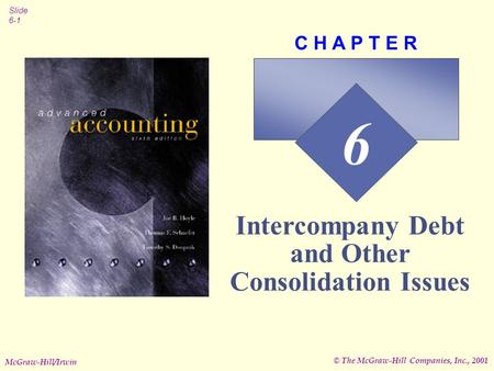 © The McGraw-Hill Companies, Inc., 2001 Slide 6-1 McGraw-Hill/Irwin 6 C H A P T E R Intercompany Debt and Other Consolidation Issues.