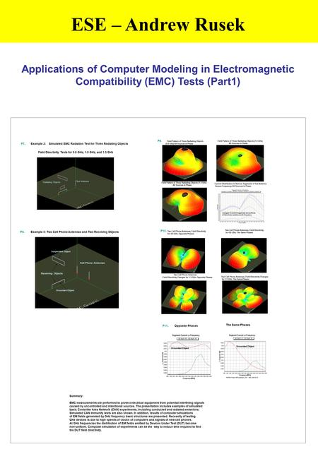 ESE – Andrew Rusek Applications of Computer Modeling in Electromagnetic Compatibility (EMC) Tests (Part1) P8. Field Pattern of Three Radiating.