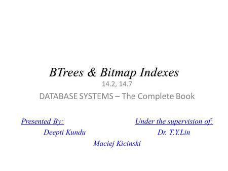BTrees & Bitmap Indexes