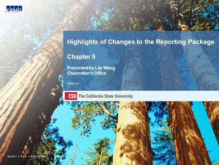 Highlights of Changes to the Reporting Package Chapter 9 Presented by Lily Wang Chancellor's Office KPMG LLP.