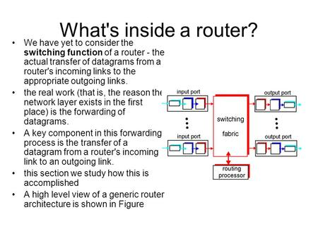 What's inside a router? We have yet to consider the switching function of a router - the actual transfer of datagrams from a router's incoming links to.