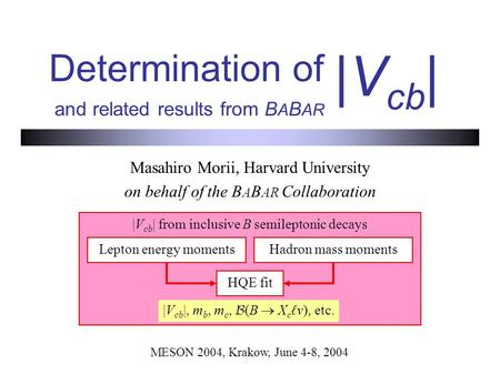 Determination of and related results from B A B AR Masahiro Morii, Harvard University on behalf of the B A B AR Collaboration |V cb | MESON 2004, Krakow,