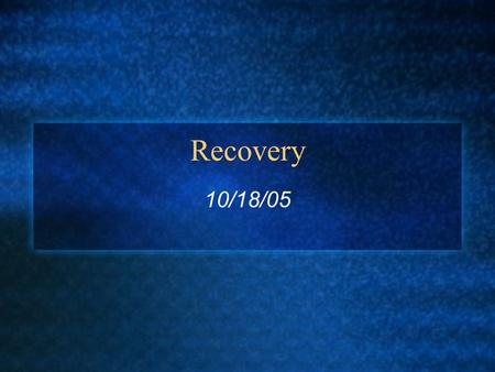 Recovery 10/18/05. Implementing atomicity Note, when a transaction commits, the portion of the system implementing durability ensures the transaction's.