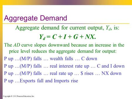 Copyright © 2002 Pearson Education, Inc. Aggregate Demand Aggregate demand for current output, Y d, is: Y d = C + I + G + NX. The AD curve slopes downward.