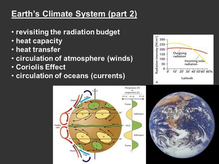 Earth's Climate System (part 2) revisiting the radiation budget heat capacity heat transfer circulation of atmosphere (winds) Coriolis Effect circulation.
