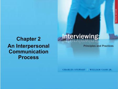 Chapter 2 An Interpersonal Communication Process.