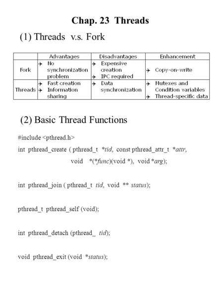 Chap. 23 Threads (1) Threads v.s. Fork (2) Basic Thread Functions #include int pthread_create ( pthread_t *tid, const pthread_attr_t *attr, void *(*func)(void.