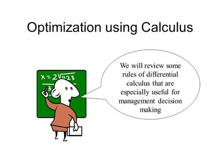 Optimization using Calculus