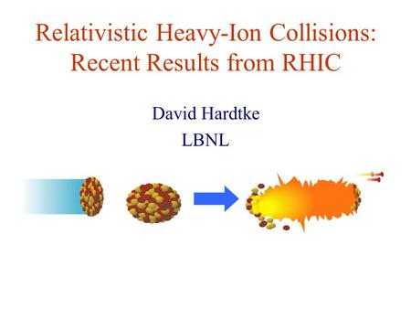 Relativistic Heavy-Ion Collisions: Recent Results from RHIC David Hardtke LBNL.