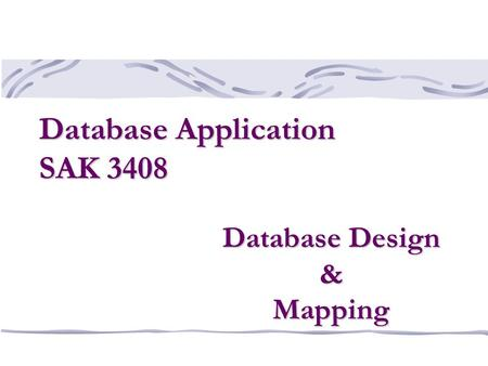 Database Design & Mapping