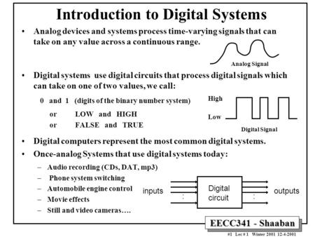 EECC341 - Shaaban #1 Lec # 1 Winter 2001 12-4-2001 Introduction to Digital Systems Analog devices and systems process time-varying signals that can take.