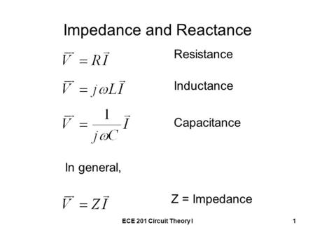 ECE 201 Circuit Theory I1 Impedance and Reactance In general, Resistance Inductance Capacitance Z = Impedance.