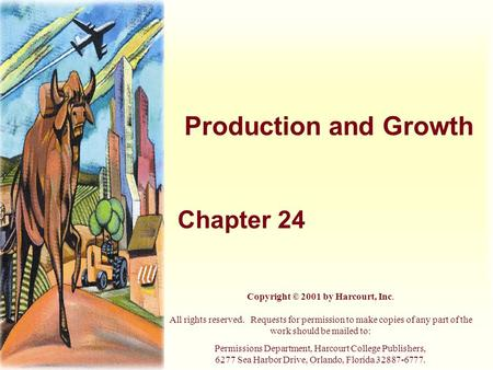 Production and Growth Chapter 24 Copyright © 2001 by Harcourt, Inc. All rights reserved. Requests for permission to make copies of any part of the work.