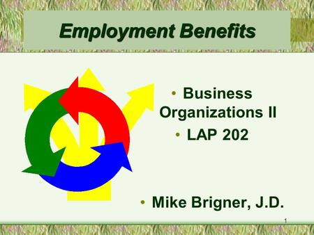1 Employment Benefits Business Organizations II LAP 202 Mike Brigner, J.D.