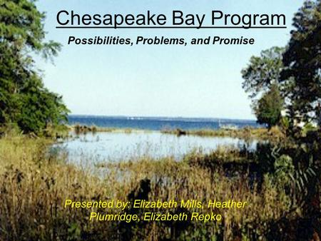 Chesapeake Bay Program Presented by: Elizabeth Mills, Heather Plumridge, Elizabeth Repko Possibilities, Problems, and Promise.