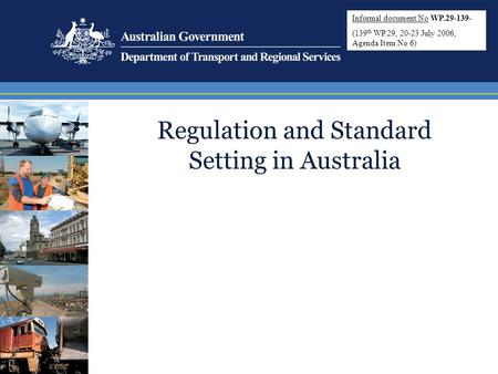 Regulation and Standard Setting in Australia Informal document No WP.29-139- (139 th WP.29, 20-23 July 2006, Agenda Item No 6)
