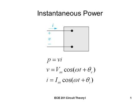 ECE 201 Circuit Theory I1 Instantaneous Power. ECE 201 Circuit Theory I2 Reference for t = 0 Call t = 0 when the current is passing through a positive.