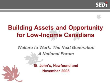 Building Assets and Opportunity for Low-Income Canadians Welfare to Work: The Next Generation A National Forum St. John's, Newfoundland November 2003.